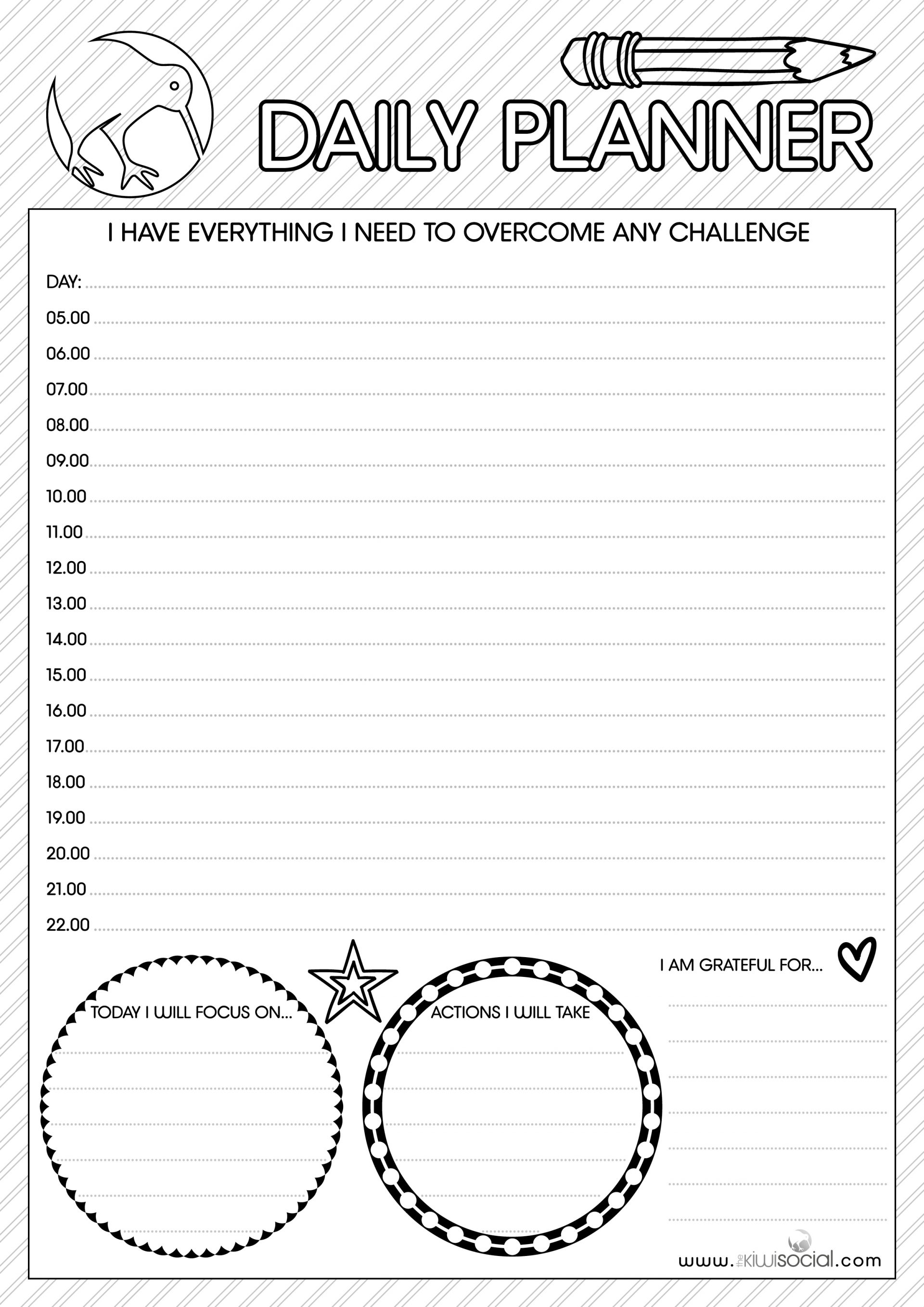 Downloadable Freebie Daily Planner a place to write your daily actions from the Kiwi Social.  With spaces to jot ideas and colour in for mindfulness