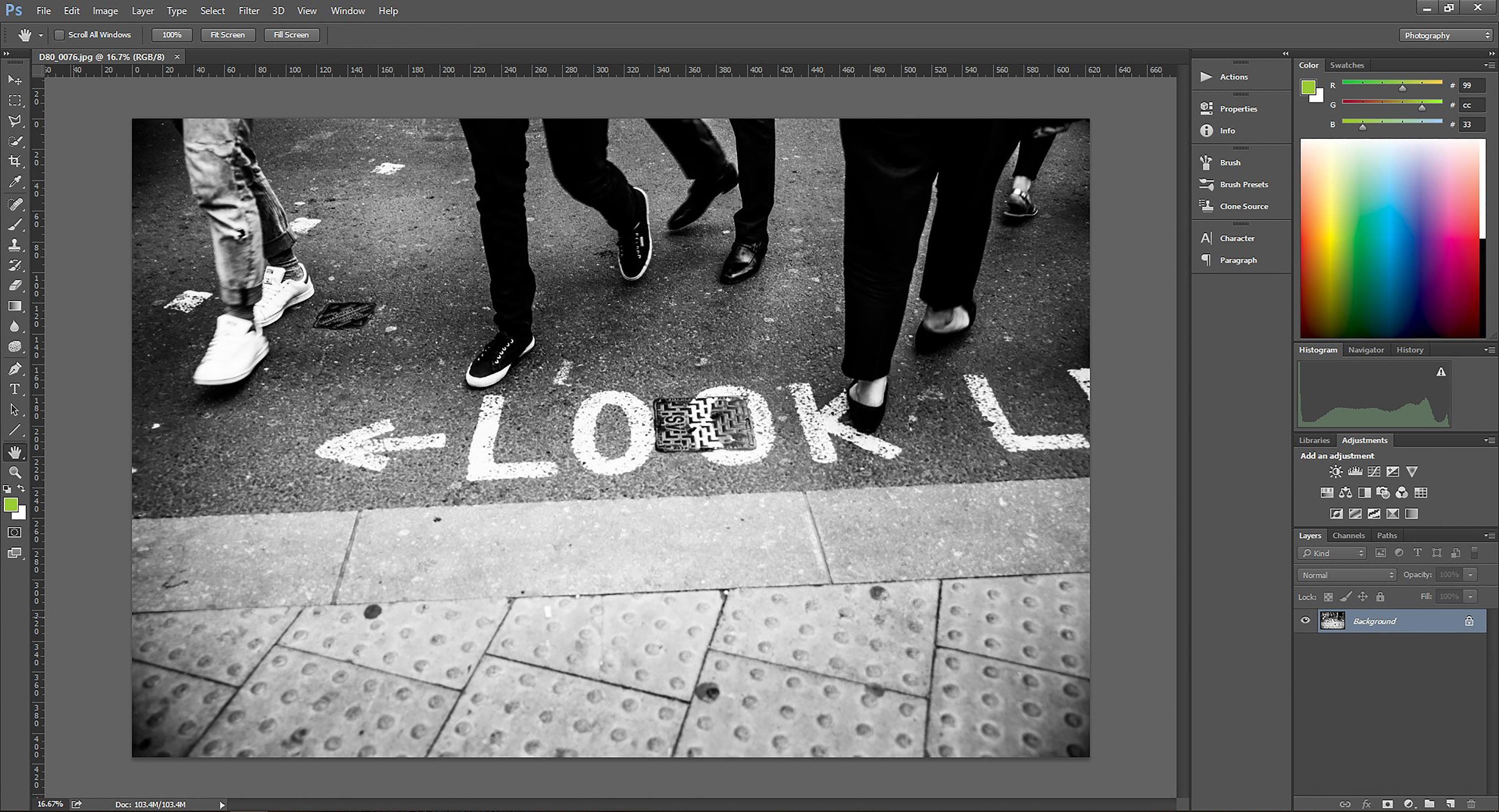 Resizing an image for the web with Photoshop
